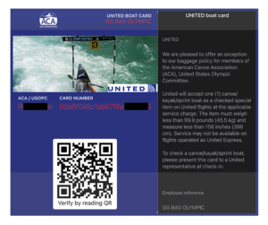 Example UNITED wallet pass